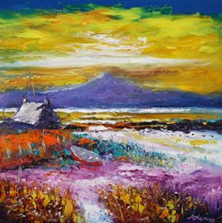Sunset On The Machair Benbecula by John Lowrie Morrison - Original Painting on Stretched Canvas sized 24x24 inches. Available from Whitewall Galleries